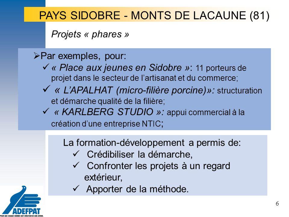 6 Par exemples, pour: « Place aux jeunes en Sidobre »: 11 porteurs de projet dans le secteur de lartisanat et du commerce; « LAPALHAT (micro-filière porcine)»: structuration et démarche qualité de la filière; « KARLBERG STUDIO »: appui commercial à la création dune entreprise NTIC ; Projets « phares » La formation-développement a permis de: Crédibiliser la démarche, Confronter les projets à un regard extérieur, Apporter de la méthode.