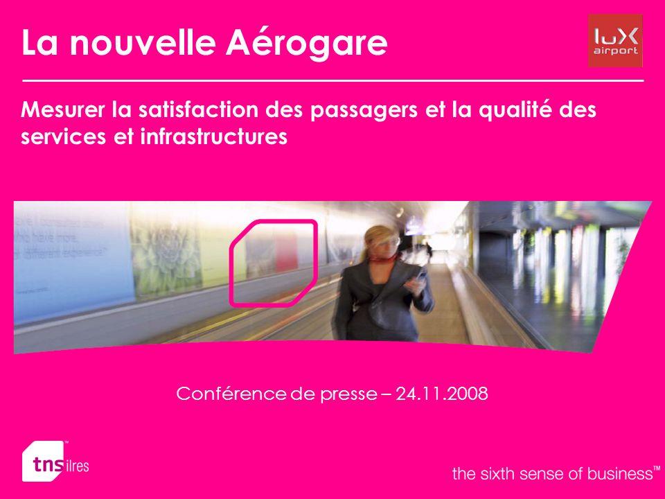 La nouvelle Aérogare Mesurer la satisfaction des passagers et la qualité des services et infrastructures Conférence de presse – 24.11.2008
