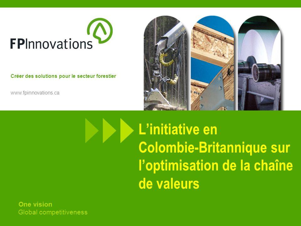 Créer des solutions pour le secteur forestier www.fpinnovations.ca Linitiative en Colombie-Britannique sur loptimisation de la chaîne de valeurs One vision Global competitiveness