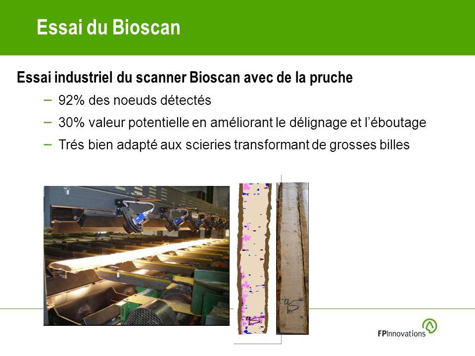 Essai du Bioscan Essai industriel du scanner Bioscan avec de la pruche – 92% des noeuds détectés – 30% valeur potentielle en améliorant le délignage et léboutage – Trés bien adapté aux scieries transformant de grosses billes