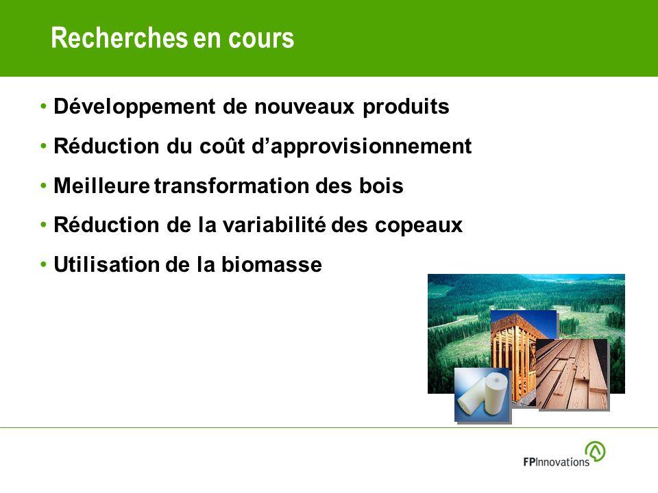 Recherches en cours Développement de nouveaux produits Réduction du coût dapprovisionnement Meilleure transformation des bois Réduction de la variabilité des copeaux Utilisation de la biomasse