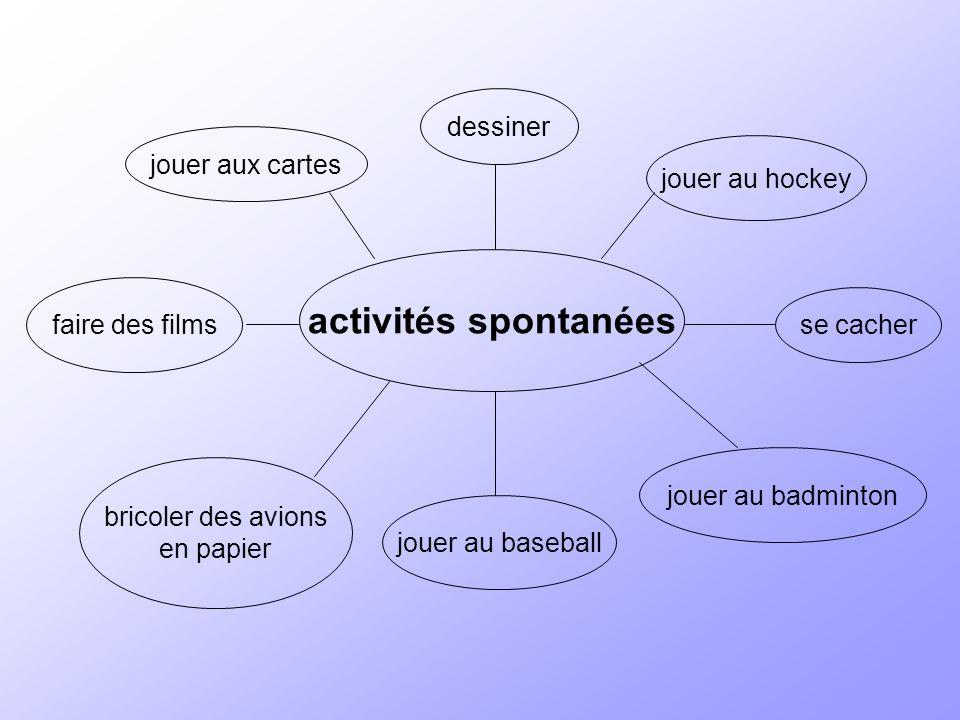 activités spontanées se cacher jouer au hockey jouer au badminton jouer au baseball bricoler des avions en papier faire des films jouer aux cartes dessiner