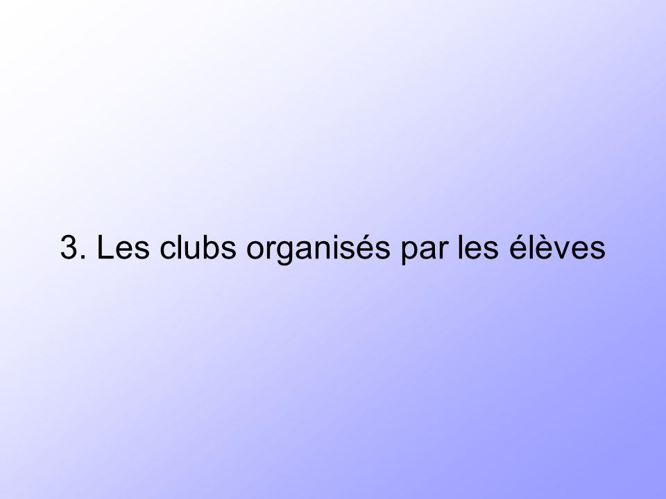 3. Les clubs organisés par les élèves