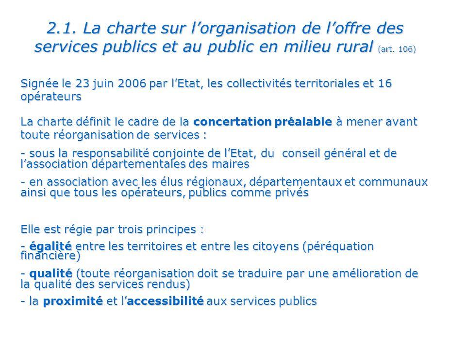 2.1.La charte sur lorganisation de loffre des services publics et au public en milieu rural (art.
