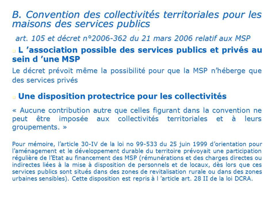 B.Convention des collectivités territoriales pour les maisons des services publics art.