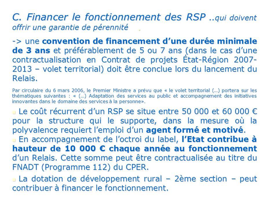 C.Financer le fonctionnement des RSP..
