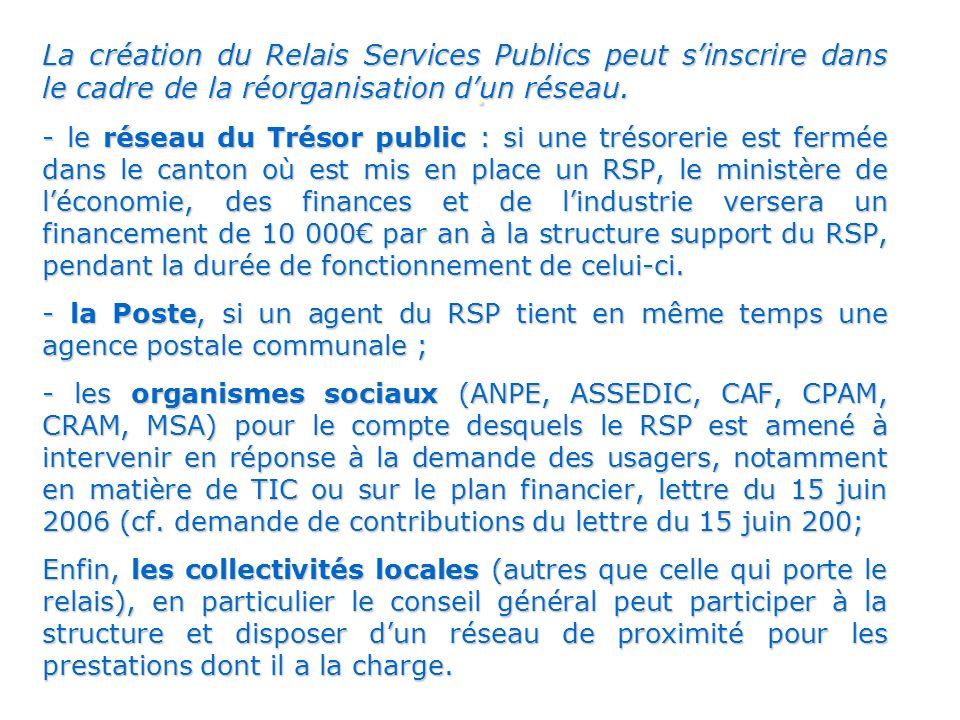 La création du Relais Services Publics peut sinscrire dans le cadre de la réorganisation dun réseau.