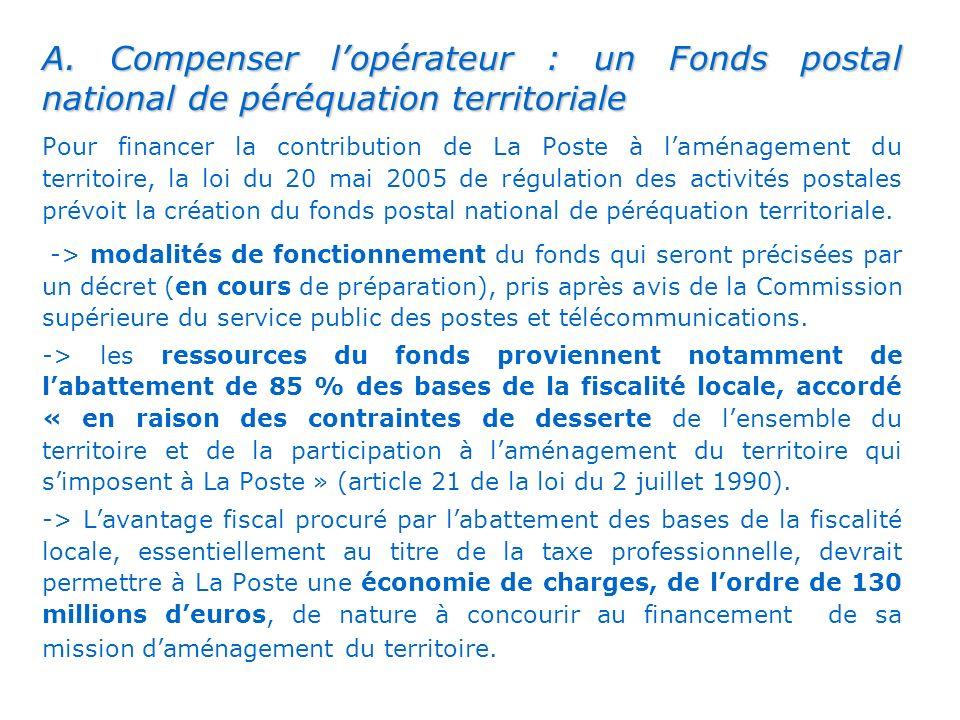 . A. Compenser lopérateur : un Fonds postal national de péréquation territoriale Pour financer la contribution de La Poste à laménagement du territoir