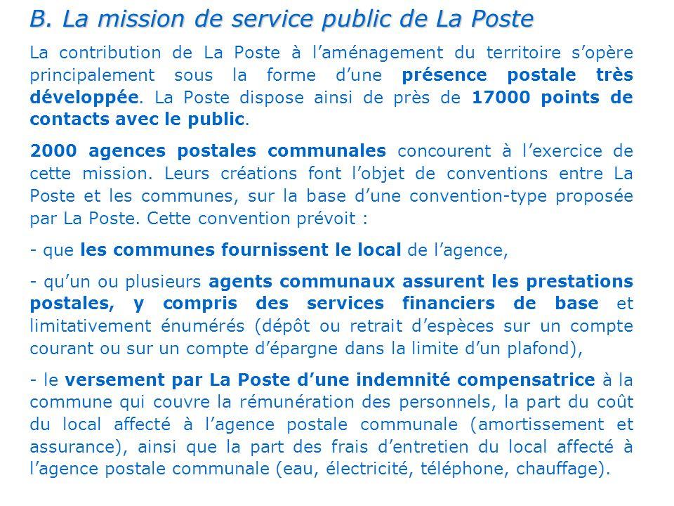. B. La mission de service public de La Poste La contribution de La Poste à laménagement du territoire sopère principalement sous la forme dune présen