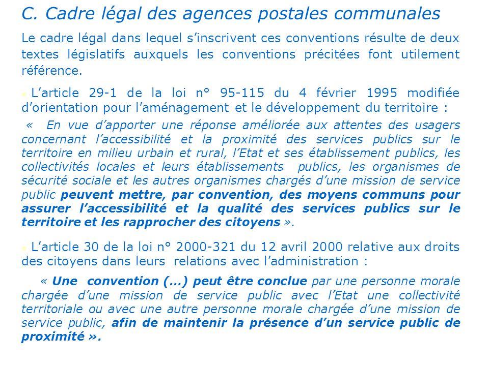 . C. Cadre légal des agences postales communales Le cadre légal dans lequel sinscrivent ces conventions résulte de deux textes législatifs auxquels le