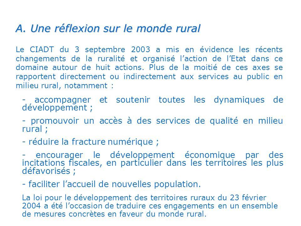 A. Une réflexion sur le monde rural Le CIADT du 3 septembre 2003 a mis en évidence les récents changements de la ruralité et organisé laction de lEtat
