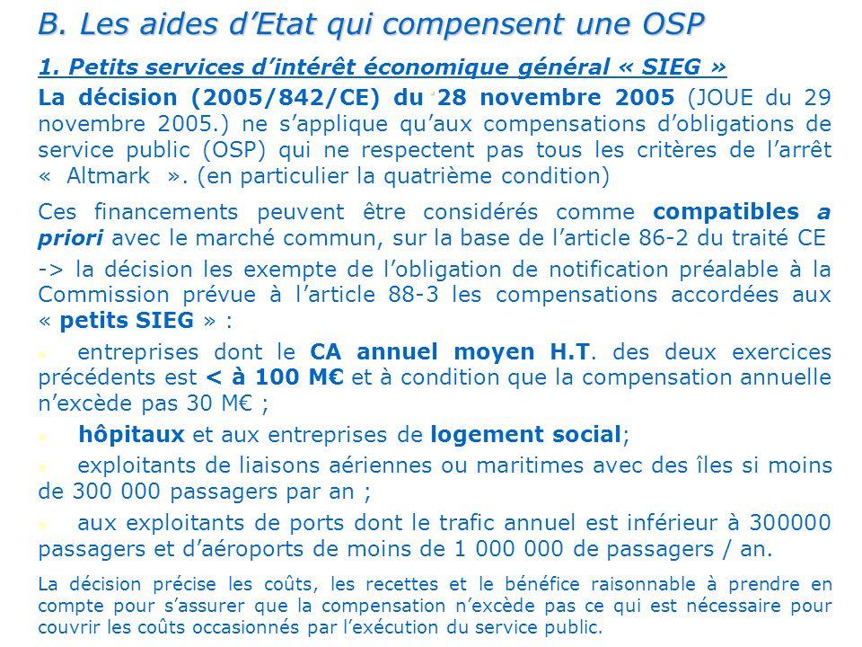 B.Les aides dEtat qui compensent une OSP 1.