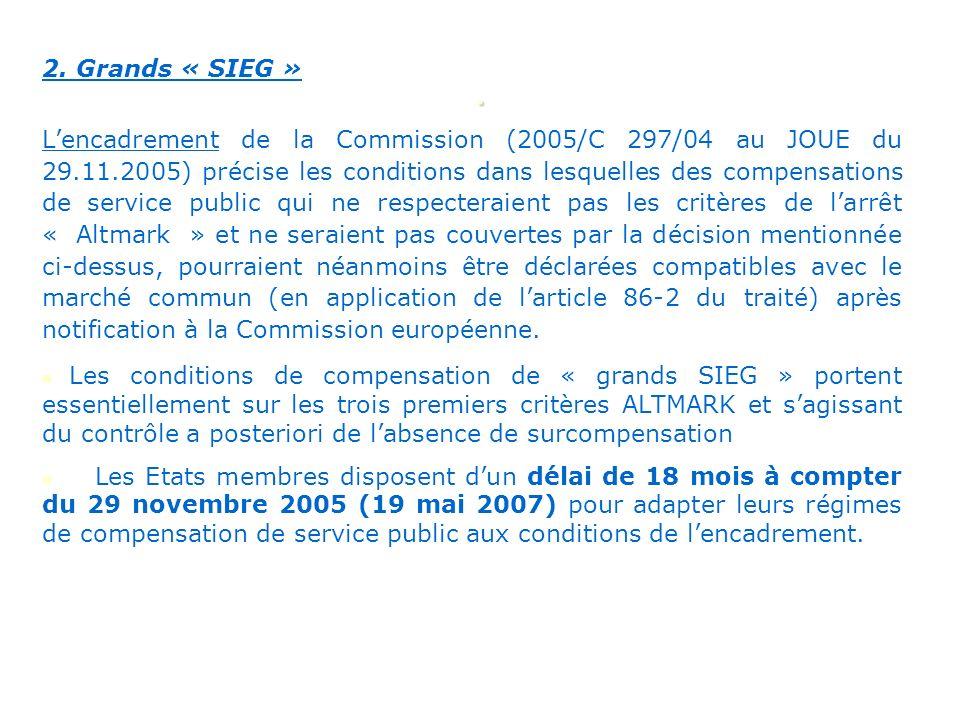 . 2. Grands « SIEG » Lencadrement de la Commission (2005/C 297/04 au JOUE du 29.11.2005) précise les conditions dans lesquelles des compensations de s