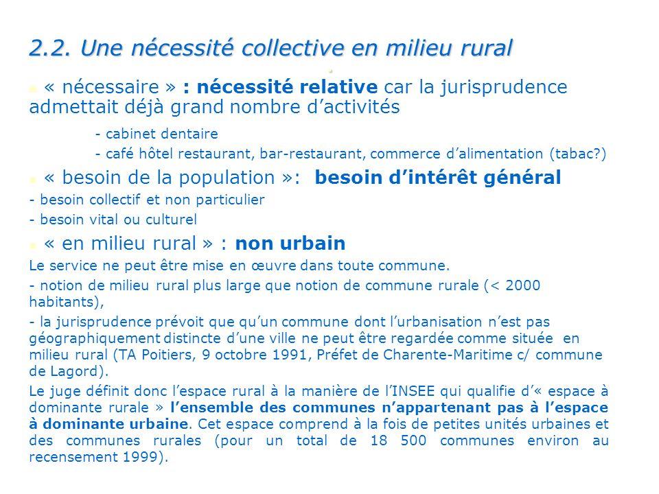 . 2.2. Une nécessité collective en milieu rural « nécessaire » : nécessité relative car la jurisprudence admettait déjà grand nombre dactivités - cabi