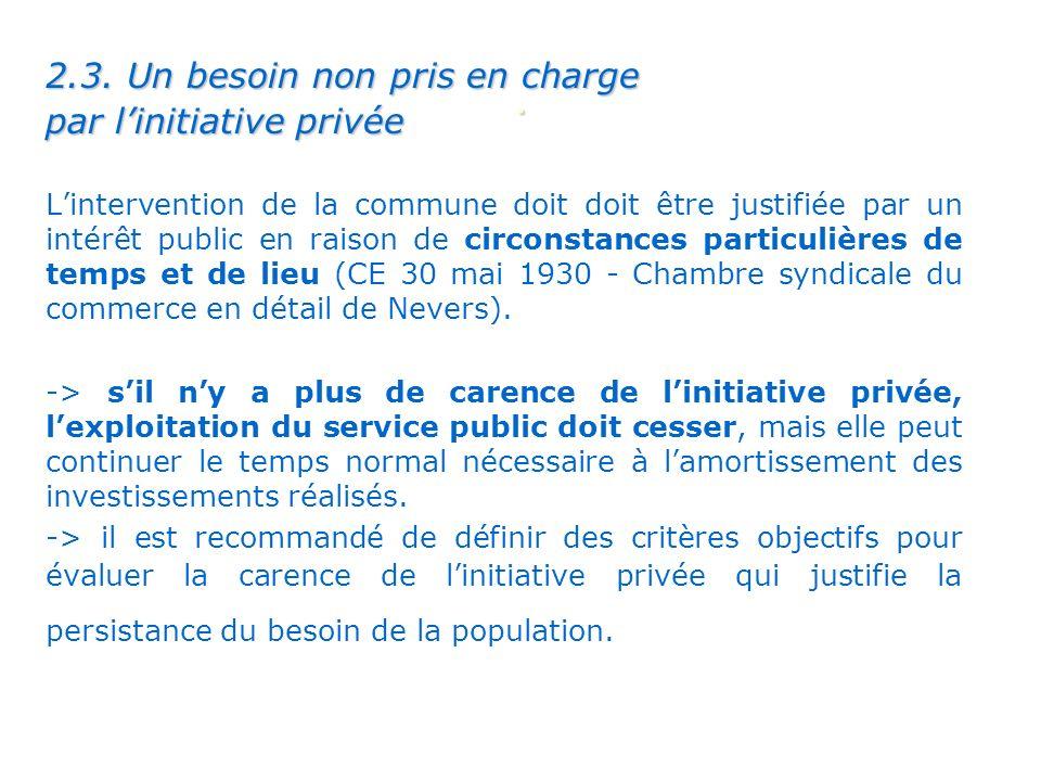 . 2.3. Un besoin non pris en charge par linitiative privée Lintervention de la commune doit doit être justifiée par un intérêt public en raison de cir