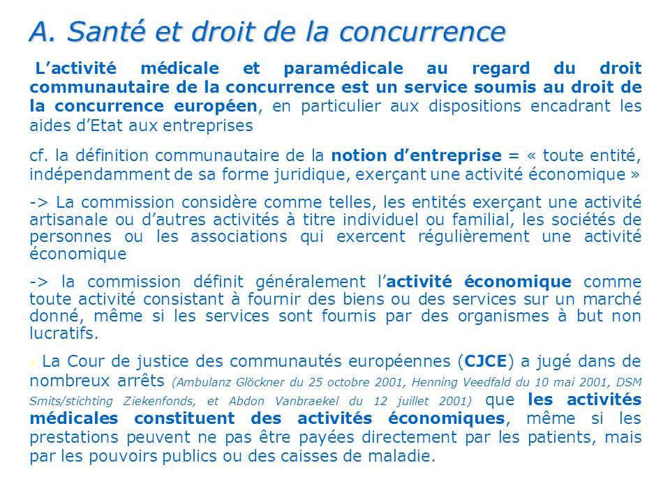 . A. Santé et droit de la concurrence Lactivité médicale et paramédicale au regard du droit communautaire de la concurrence est un service soumis au d