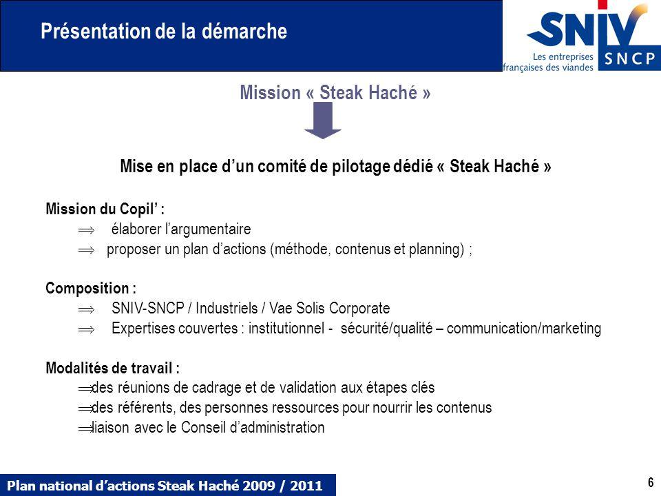 Plan national dactions Steak Haché 2009 / 2011 6 6 Mission « Steak Haché » Mise en place dun comité de pilotage dédié « Steak Haché » Mission du Copil