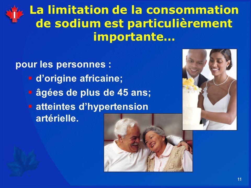 11 La limitation de la consommation de sodium est particulièrement importante… pour les personnes : dorigine africaine; âgées de plus de 45 ans; attei