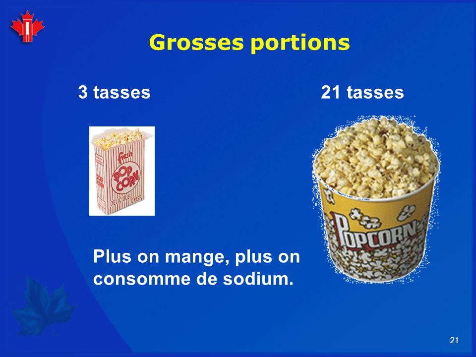 21 Grosses portions 21 tasses3 tasses Plus on mange, plus on consomme de sodium.