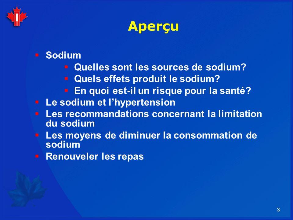 14 Consommation de sodium Recommandations ÂgeAS (mg/jr)AMT(mg/jr) 14-5015002300 50-7013002300 Plus de 7012002300 Dietary Reference Intakes, IM 2005