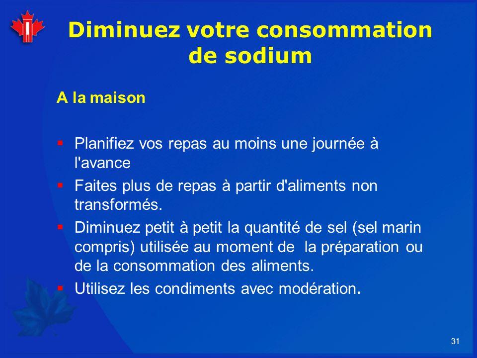 31 Diminuez votre consommation de sodium A la maison Planifiez vos repas au moins une journée à l'avance Faites plus de repas à partir d'aliments non