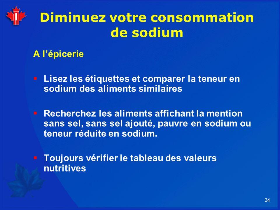 34 Diminuez votre consommation de sodium A lépicerie Lisez les étiquettes et comparer la teneur en sodium des aliments similaires Recherchez les alime
