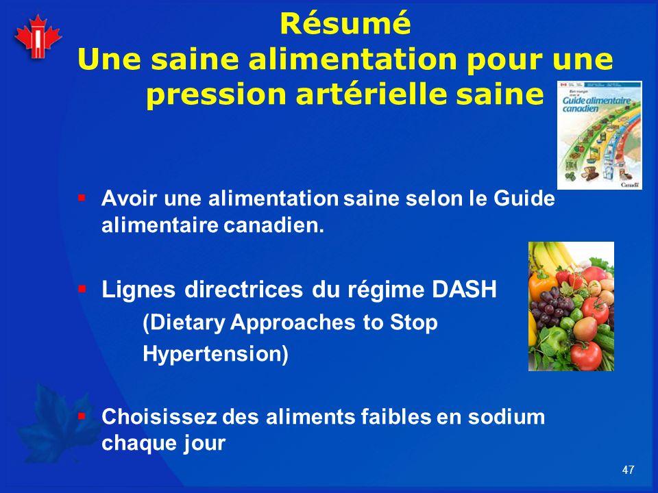 47 Résumé Une saine alimentation pour une pression artérielle saine Avoir une alimentation saine selon le Guide alimentaire canadien. Lignes directric