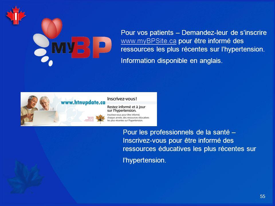 55 Pour vos patients – Demandez-leur de sinscrire www.myBPSite.ca pour être informé des ressources les plus récentes sur lhypertension. Information di