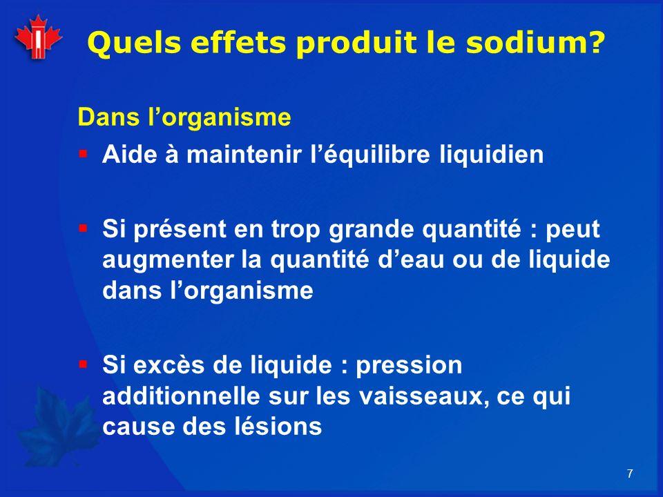 7 Quels effets produit le sodium? Dans lorganisme Aide à maintenir léquilibre liquidien Si présent en trop grande quantité : peut augmenter la quantit