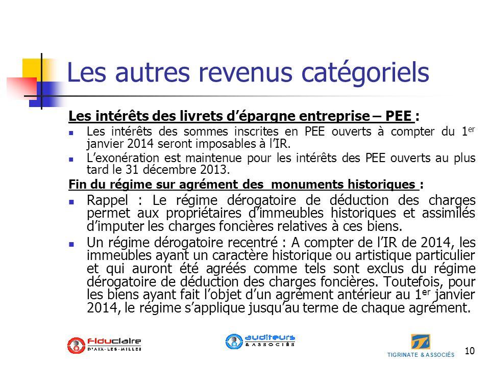 TIGRINATE & ASSOCIÉS 10 Les autres revenus catégoriels Les intérêts des livrets dépargne entreprise – PEE : Les intérêts des sommes inscrites en PEE o
