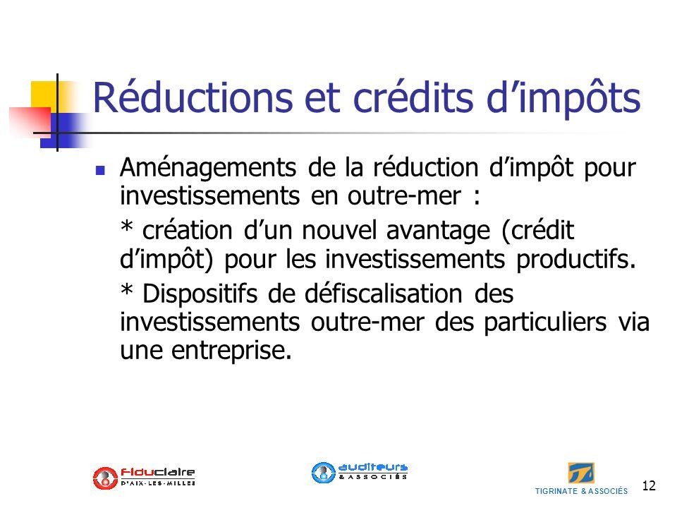 TIGRINATE & ASSOCIÉS 12 Réductions et crédits dimpôts Aménagements de la réduction dimpôt pour investissements en outre-mer : * création dun nouvel av
