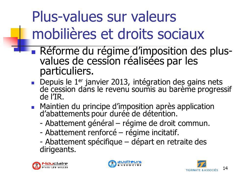 TIGRINATE & ASSOCIÉS 14 Plus-values sur valeurs mobilières et droits sociaux Réforme du régime dimposition des plus- values de cession réalisées par l