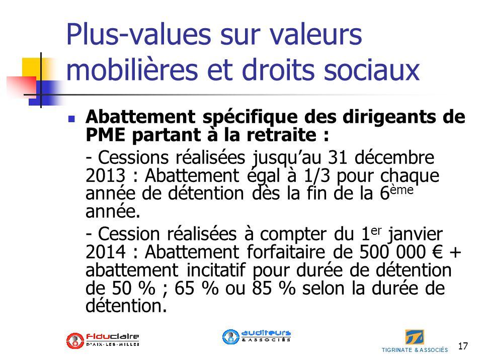 TIGRINATE & ASSOCIÉS Plus-values sur valeurs mobilières et droits sociaux Abattement spécifique des dirigeants de PME partant à la retraite : - Cessio
