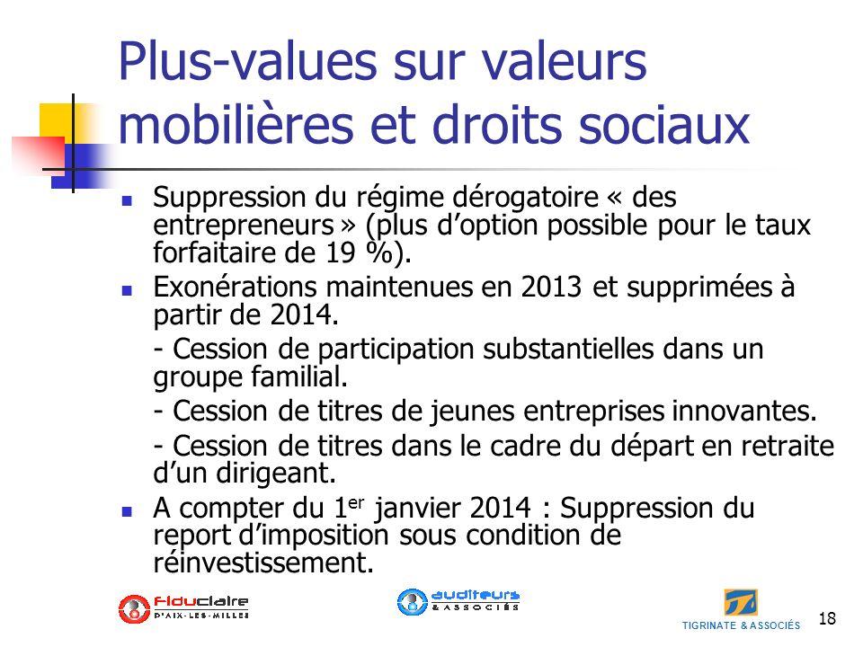 TIGRINATE & ASSOCIÉS Plus-values sur valeurs mobilières et droits sociaux Suppression du régime dérogatoire « des entrepreneurs » (plus doption possib