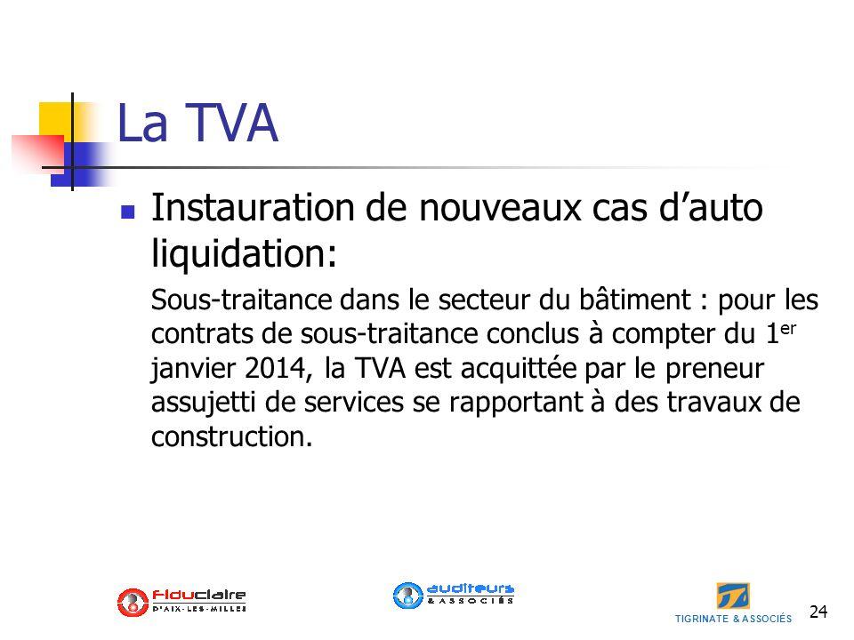 TIGRINATE & ASSOCIÉS 24 La TVA Instauration de nouveaux cas dauto liquidation: Sous-traitance dans le secteur du bâtiment : pour les contrats de sous-
