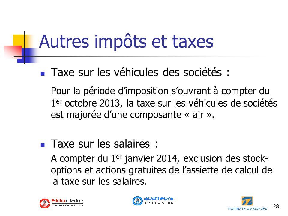 TIGRINATE & ASSOCIÉS Autres impôts et taxes Taxe sur les véhicules des sociétés : Pour la période dimposition souvrant à compter du 1 er octobre 2013,