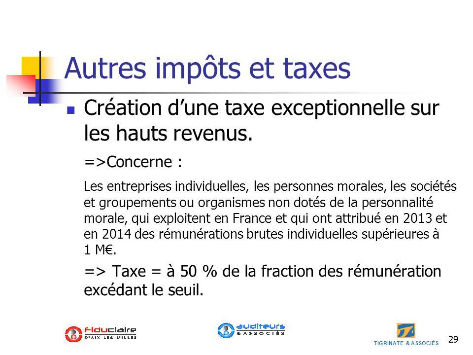 TIGRINATE & ASSOCIÉS Autres impôts et taxes Création dune taxe exceptionnelle sur les hauts revenus. =>Concerne : Les entreprises individuelles, les p
