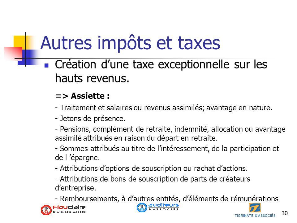 TIGRINATE & ASSOCIÉS Autres impôts et taxes Création dune taxe exceptionnelle sur les hauts revenus. => Assiette : - Traitement et salaires ou revenus