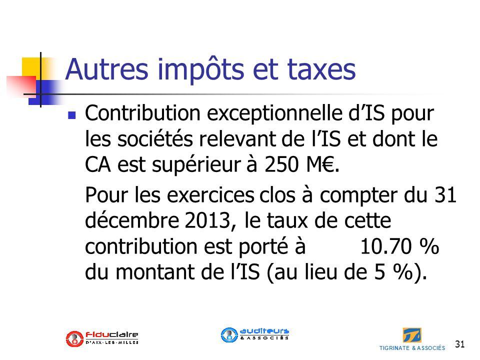 TIGRINATE & ASSOCIÉS Autres impôts et taxes Contribution exceptionnelle dIS pour les sociétés relevant de lIS et dont le CA est supérieur à 250 M. Pou