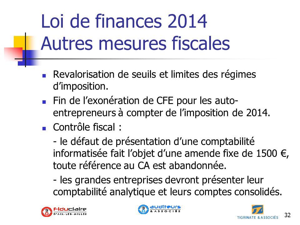 TIGRINATE & ASSOCIÉS 32 Loi de finances 2014 Autres mesures fiscales Revalorisation de seuils et limites des régimes dimposition. Fin de lexonération