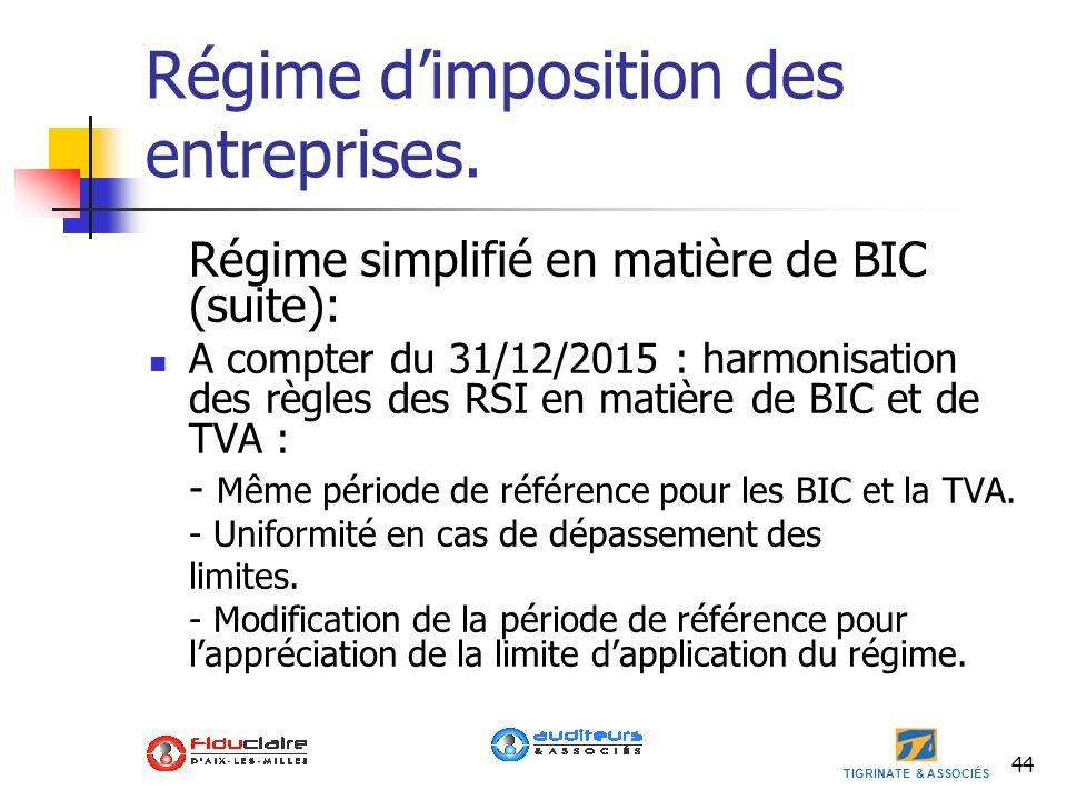 TIGRINATE & ASSOCIÉS Régime dimposition des entreprises. Régime simplifié en matière de BIC (suite): A compter du 31/12/2015 : harmonisation des règle