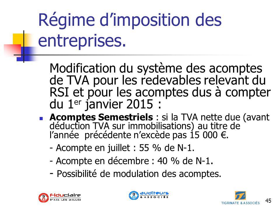 TIGRINATE & ASSOCIÉS Régime dimposition des entreprises. Modification du système des acomptes de TVA pour les redevables relevant du RSI et pour les a