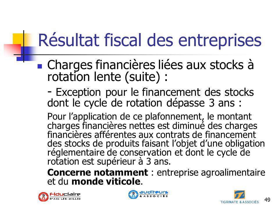 TIGRINATE & ASSOCIÉS Résultat fiscal des entreprises Charges financières liées aux stocks à rotation lente (suite) : - Exception pour le financement d