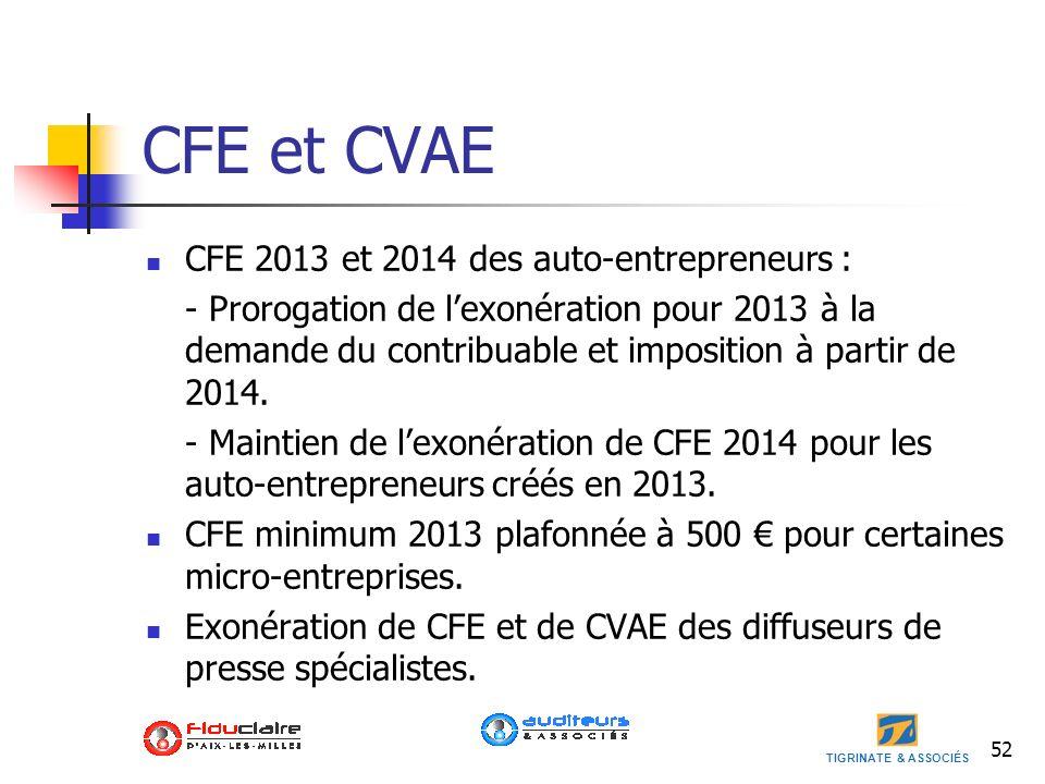 TIGRINATE & ASSOCIÉS CFE et CVAE CFE 2013 et 2014 des auto-entrepreneurs : - Prorogation de lexonération pour 2013 à la demande du contribuable et imp