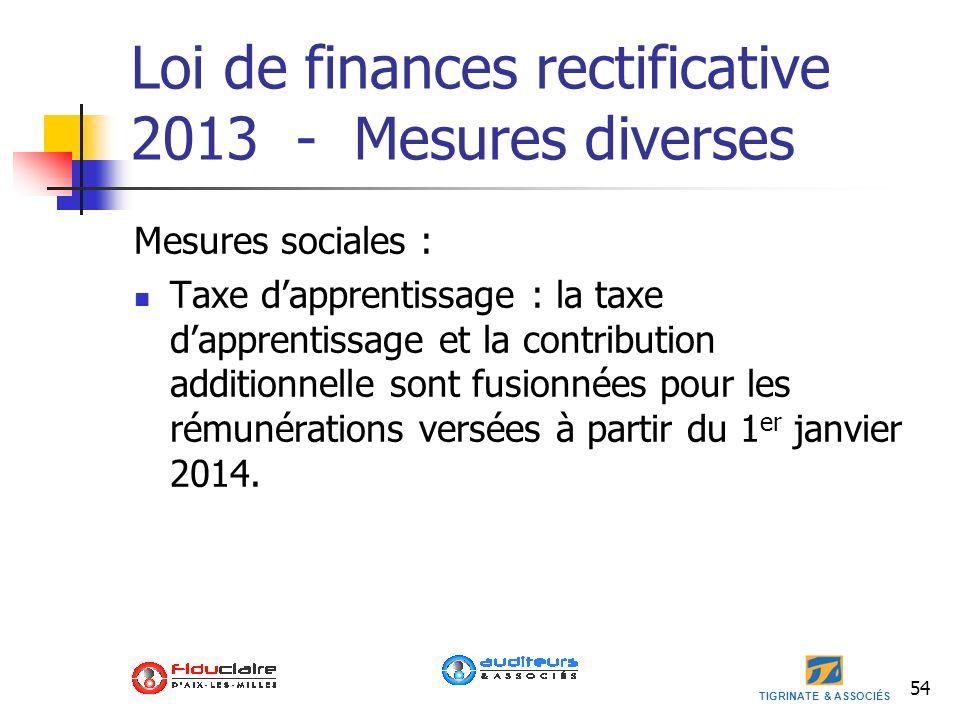 TIGRINATE & ASSOCIÉS 54 Loi de finances rectificative 2013 - Mesures diverses Mesures sociales : Taxe dapprentissage : la taxe dapprentissage et la co