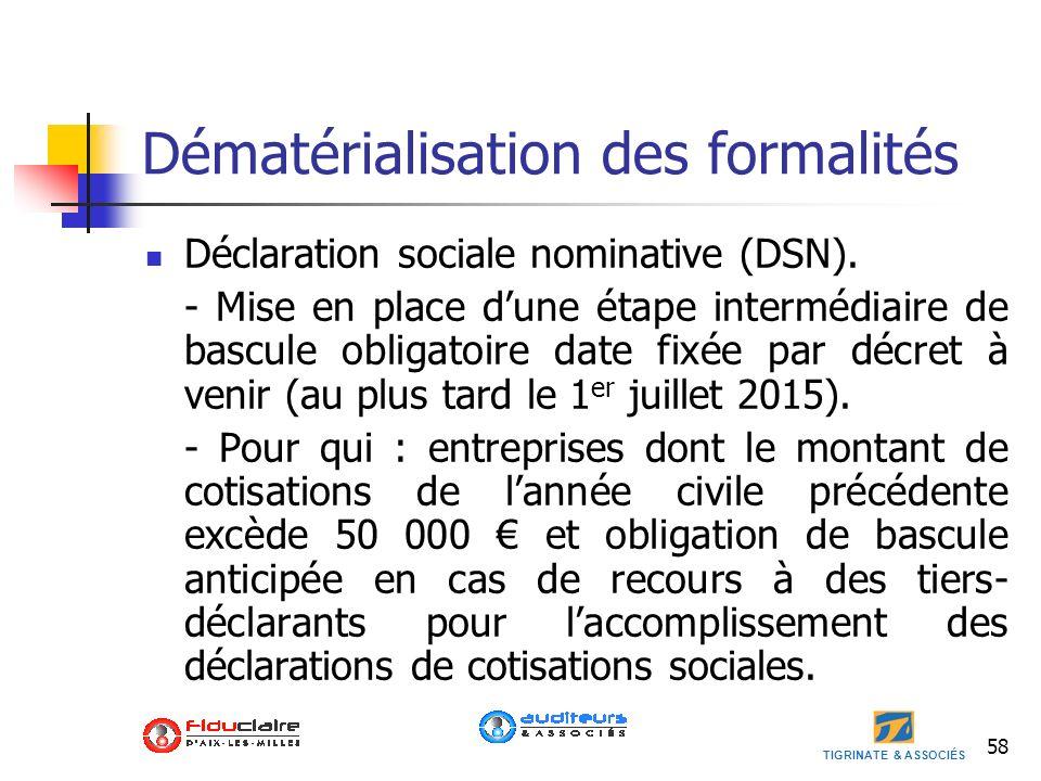 TIGRINATE & ASSOCIÉS 58 Dématérialisation des formalités Déclaration sociale nominative (DSN). - Mise en place dune étape intermédiaire de bascule obl