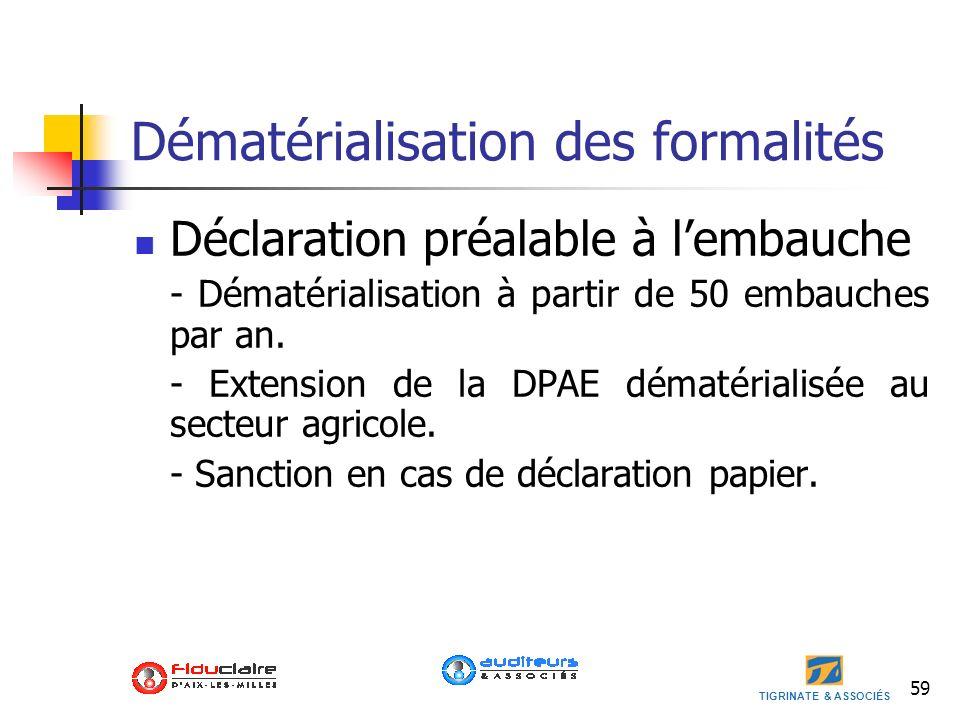 TIGRINATE & ASSOCIÉS 59 Dématérialisation des formalités Déclaration préalable à lembauche - Dématérialisation à partir de 50 embauches par an. - Exte