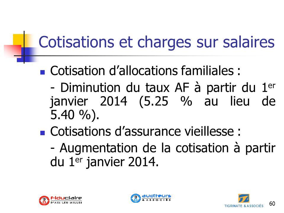 TIGRINATE & ASSOCIÉS 60 Cotisations et charges sur salaires Cotisation dallocations familiales : - Diminution du taux AF à partir du 1 er janvier 2014