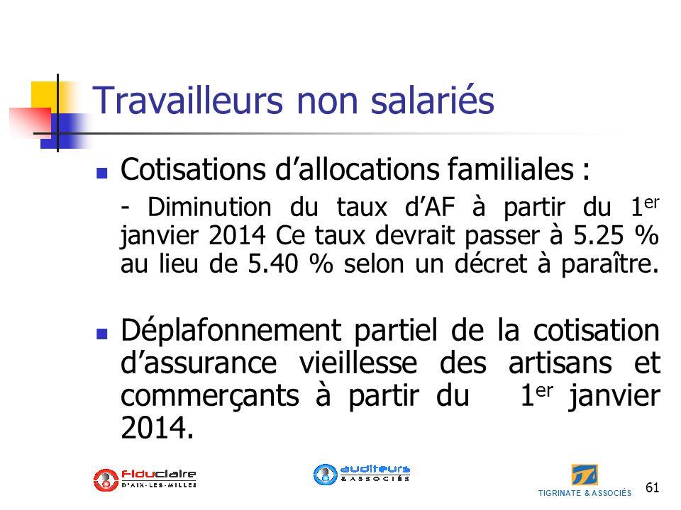 TIGRINATE & ASSOCIÉS 61 Travailleurs non salariés Cotisations dallocations familiales : - Diminution du taux dAF à partir du 1 er janvier 2014 Ce taux