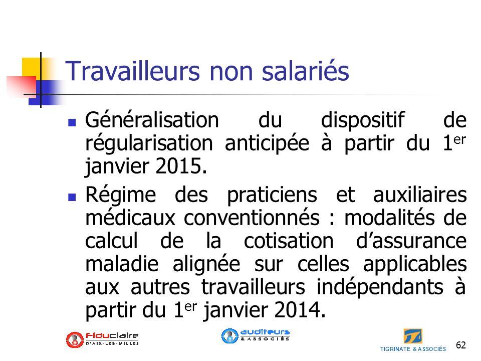 TIGRINATE & ASSOCIÉS 62 Travailleurs non salariés Généralisation du dispositif de régularisation anticipée à partir du 1 er janvier 2015. Régime des p